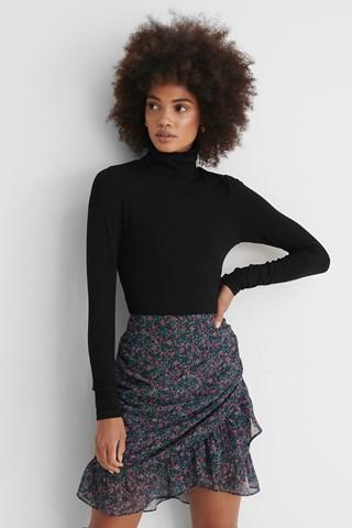 Purple Flower Sheer Frill Mini Skirt