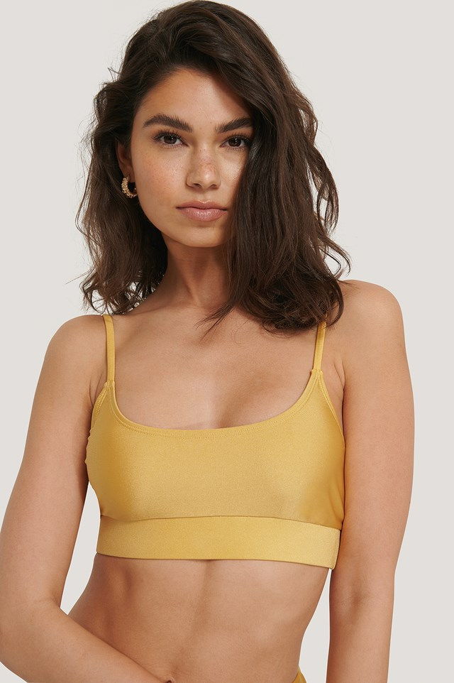 Shiny Rounded Bikini Top Dusty Yellow