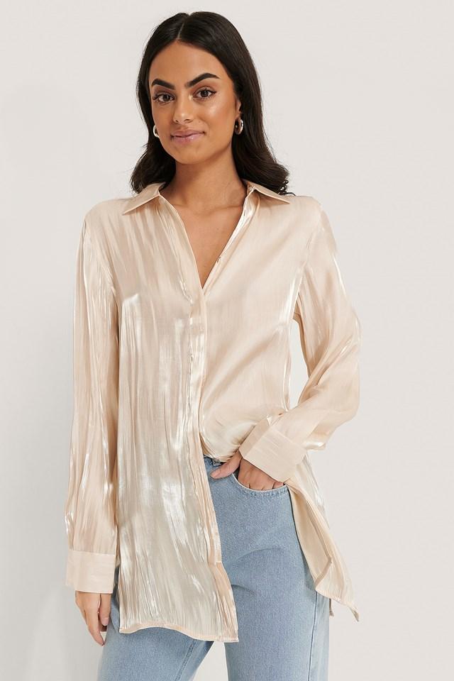 Shiny Slit Blouse Pearl