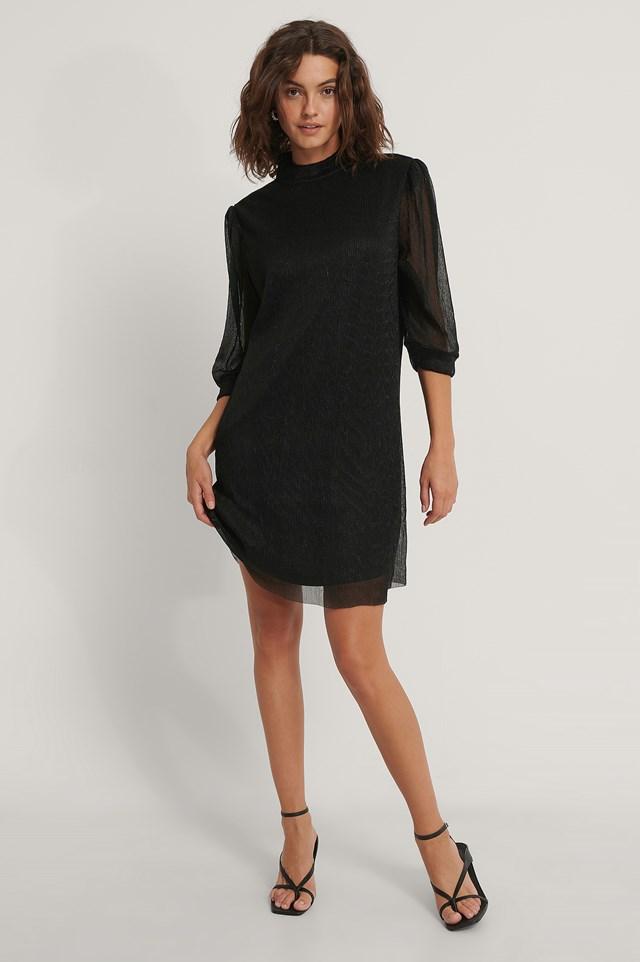 Shiny Straight Dress Black
