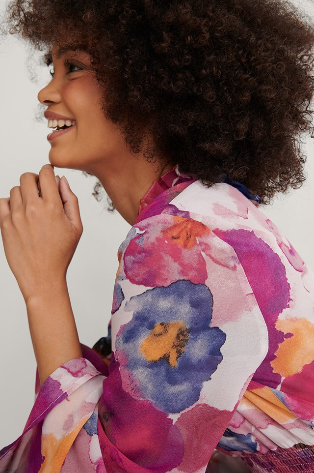 Multi Floral Print Shirred Detail Dress