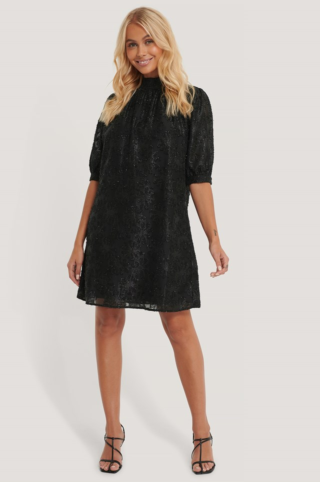 Shirred High Neck Flower Dress Black