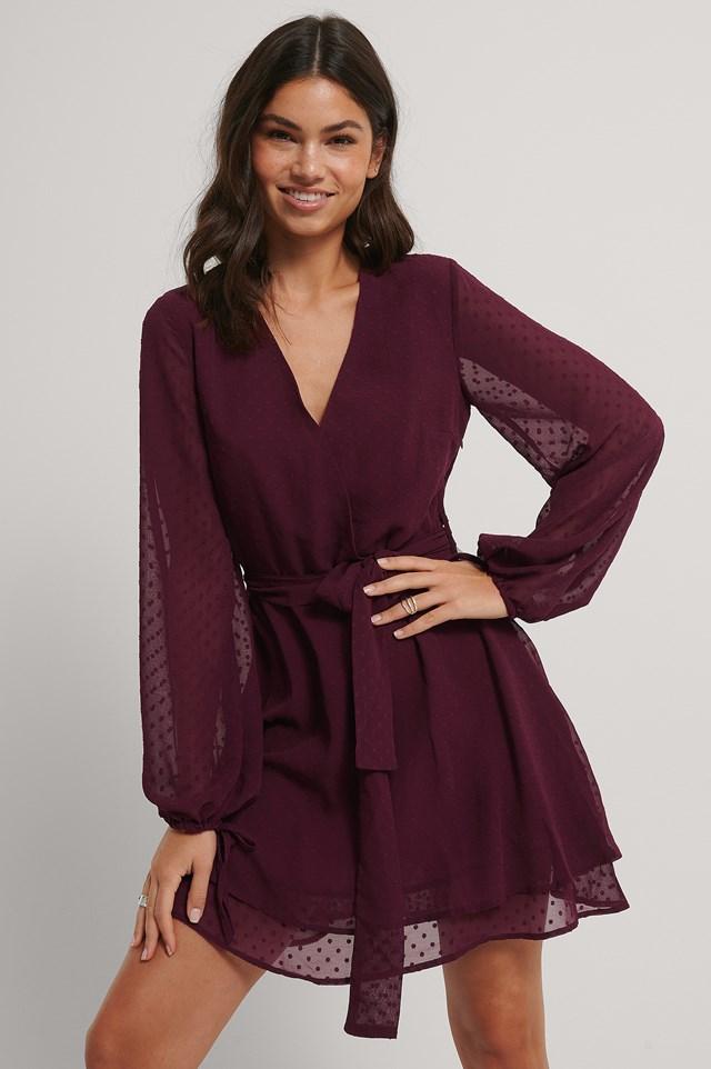 Shirred Overlap Dobby Dress Burgundy