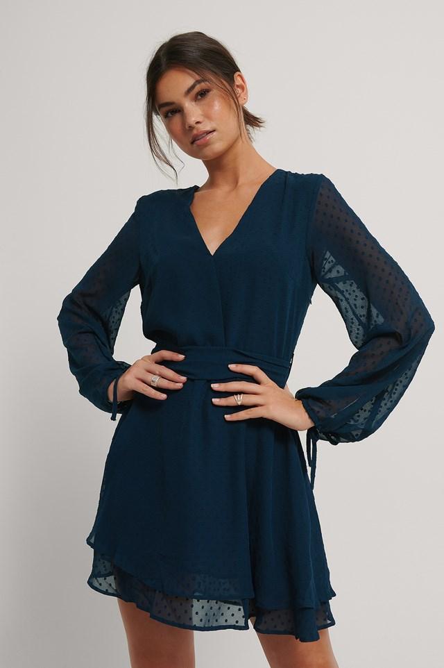 Shirred Overlap Dobby Dress Midnight Blue