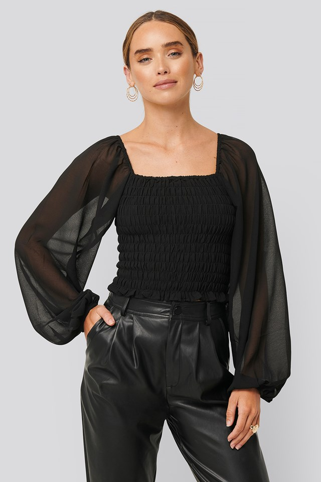 Shirred Square Neck LS Blouse Black