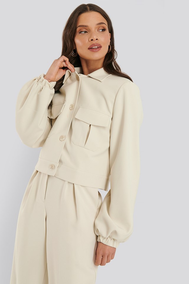 Shirt Buttoned Balloon Sleeve Jacket Off White