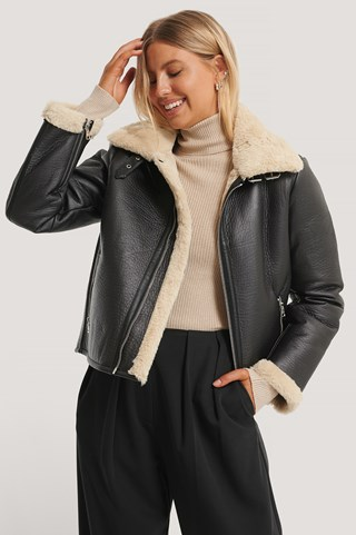 Black Short Aviator PU Jacket