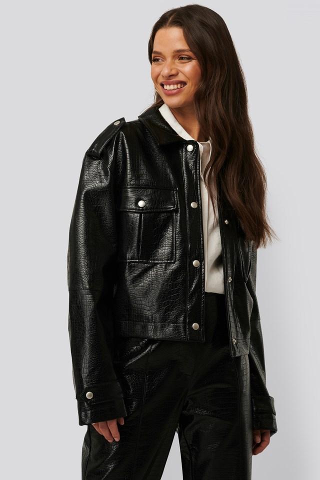 Short Buttoned Reptile PU Jacket Black