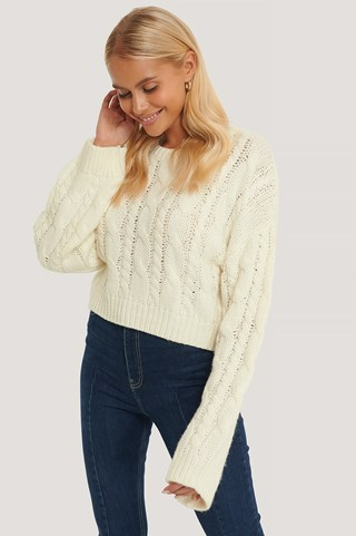 White Short Cable Knit Sweater