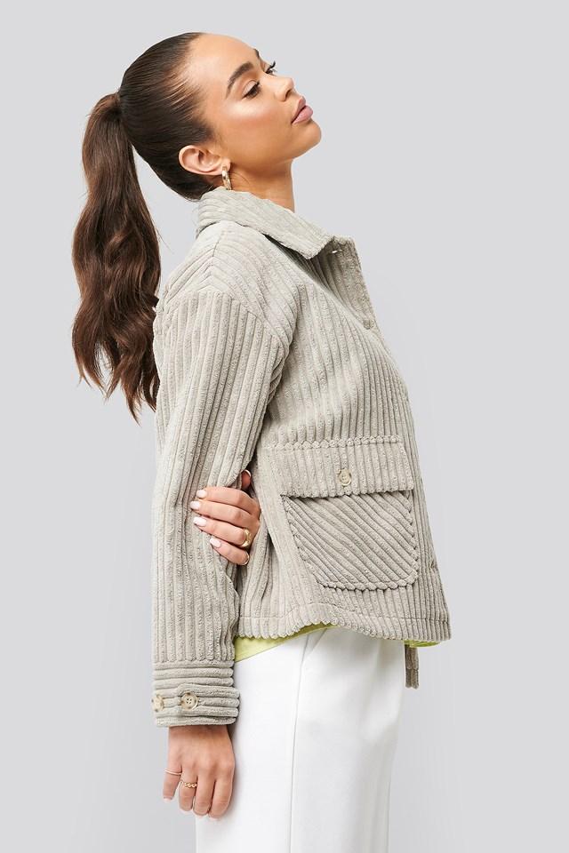 Short Corduroy Coat Grey