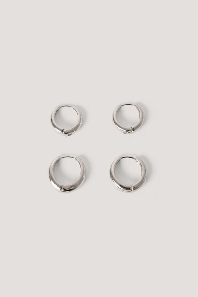 Silver Short Hoop Earrings (2-Pack)