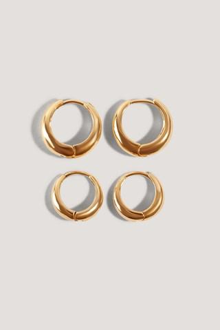 Gold Short Hoop Earrings (2-Pack)
