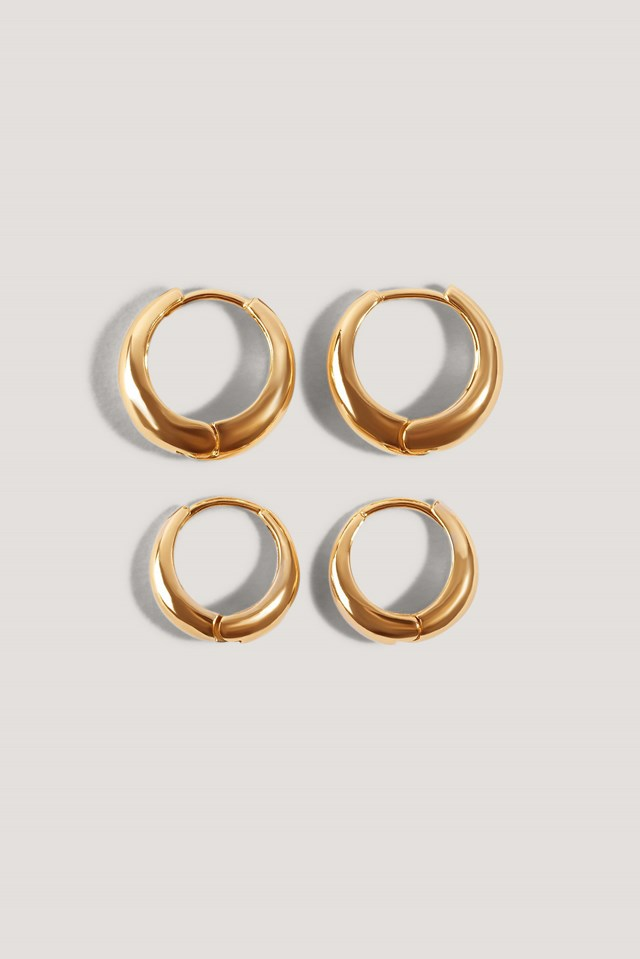 Short Hoop Earrings (2-Pack) Gold