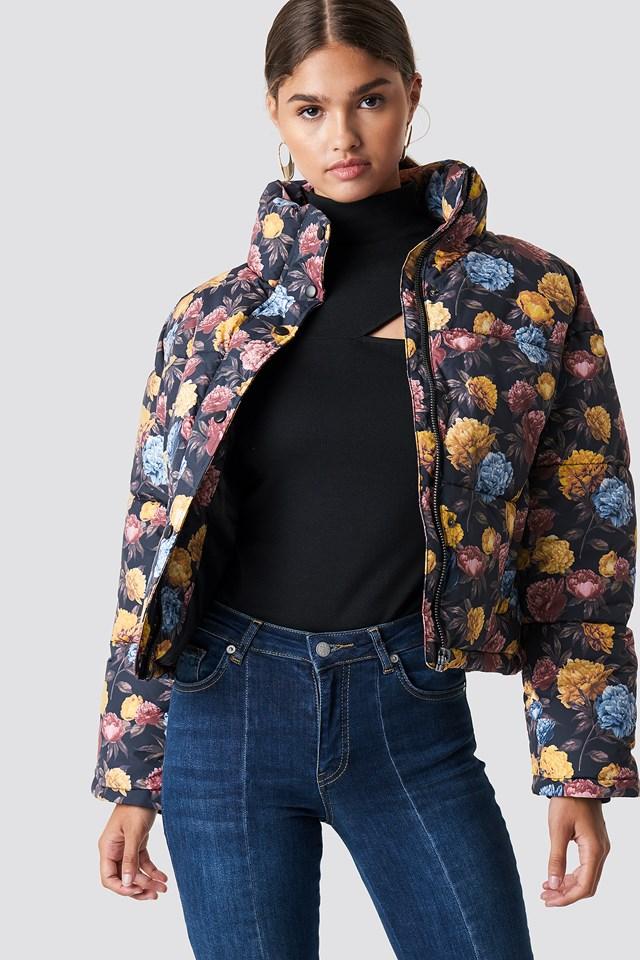 Short Padded Jacket Autumn Flowers