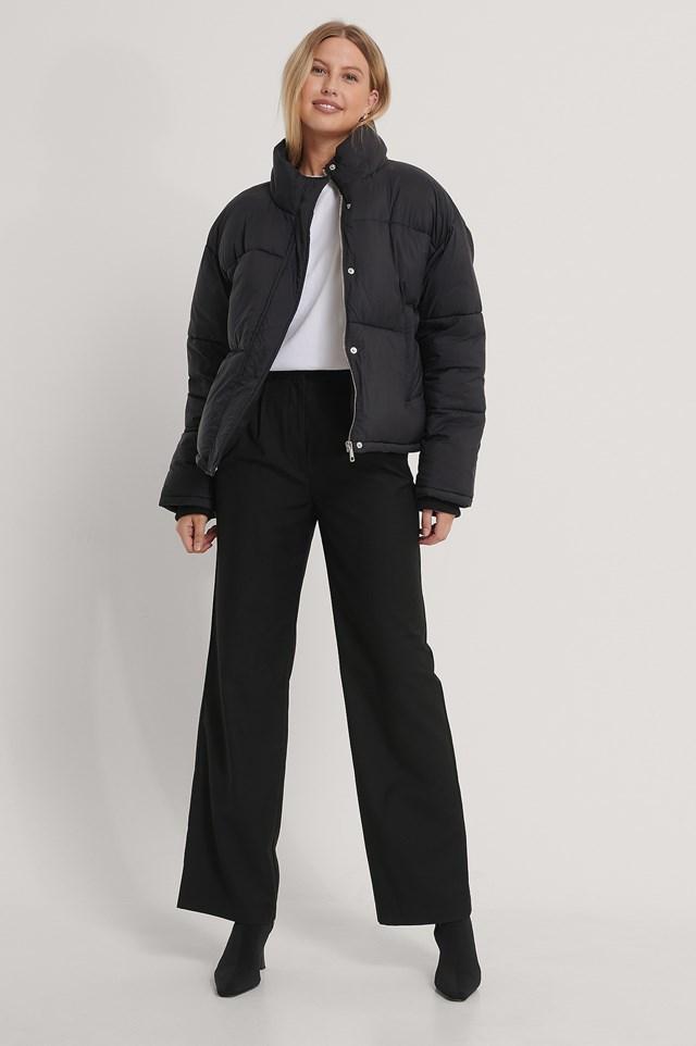 Short Padded Zipped Jacket Black