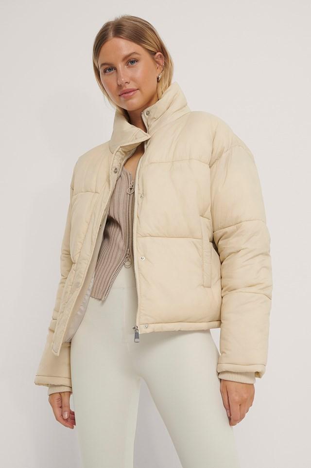 Short Padded Zipped Jacket Beige