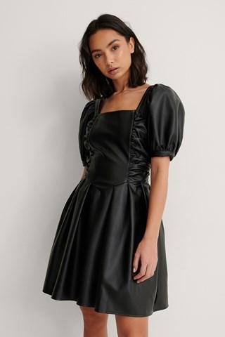 Black Short Puff Sleeve PU Dress