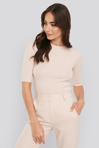 Light Pink Ribbed Short Sleeved Top