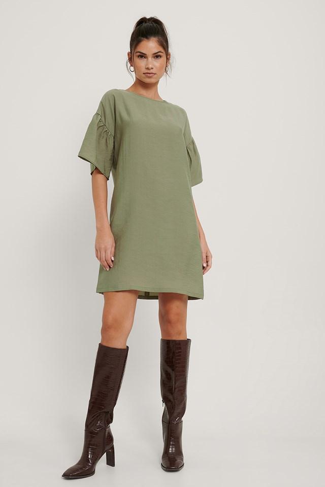 Short Ruffle Sleeve Dress Green