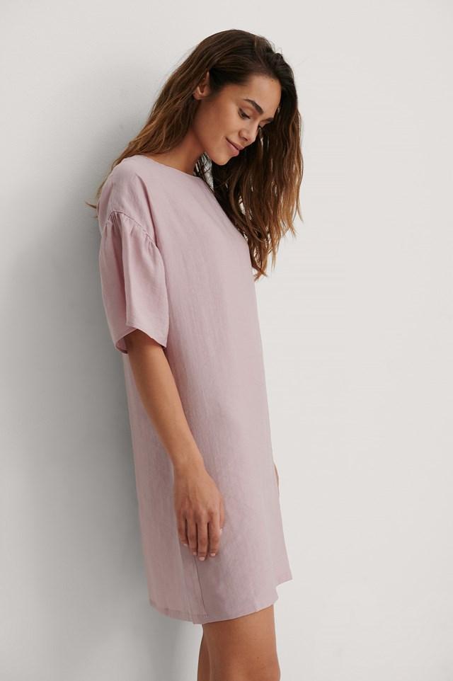 Short Ruffle Sleeve Dress Pink