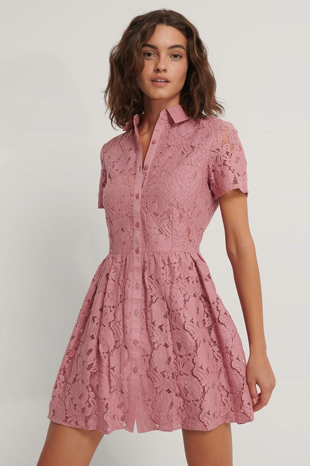 Short Sleeve Lace Mini Dress Dusty Rose
