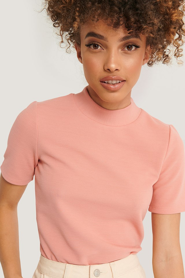 Short Sleeve Ribbed Top Dusty Rose