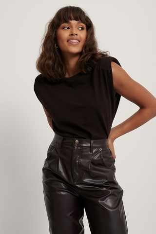 Brown Shoulder Pad Detail Top