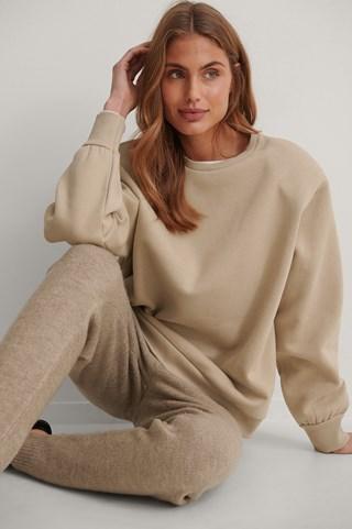Beige Organic Shoulder Pad Sweatshirt