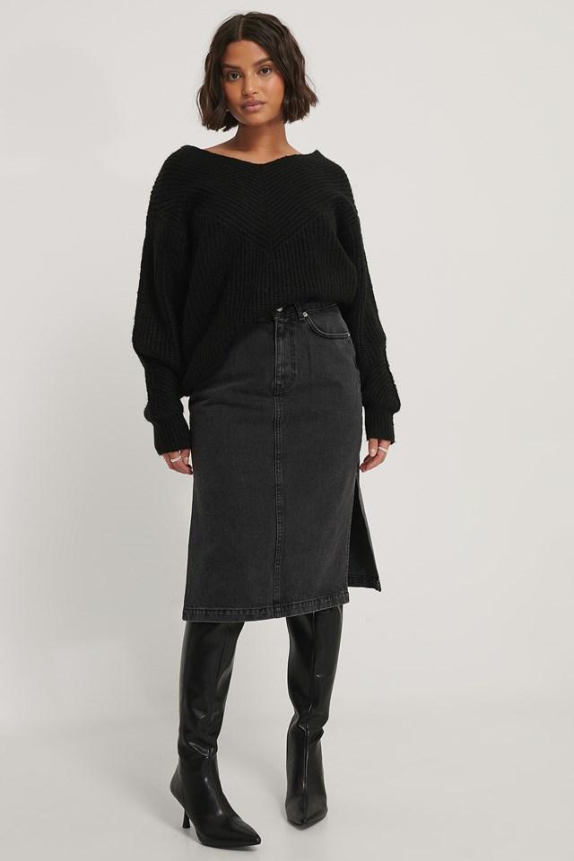 Side Slit Denim Skirt Black