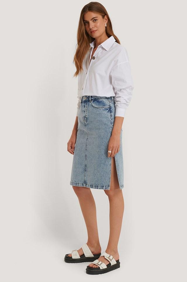 Side Slit Denim Skirt Mid Blue