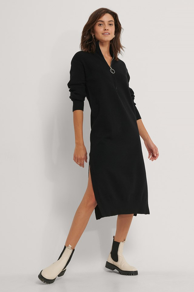 Side Slit Knit Dress Black