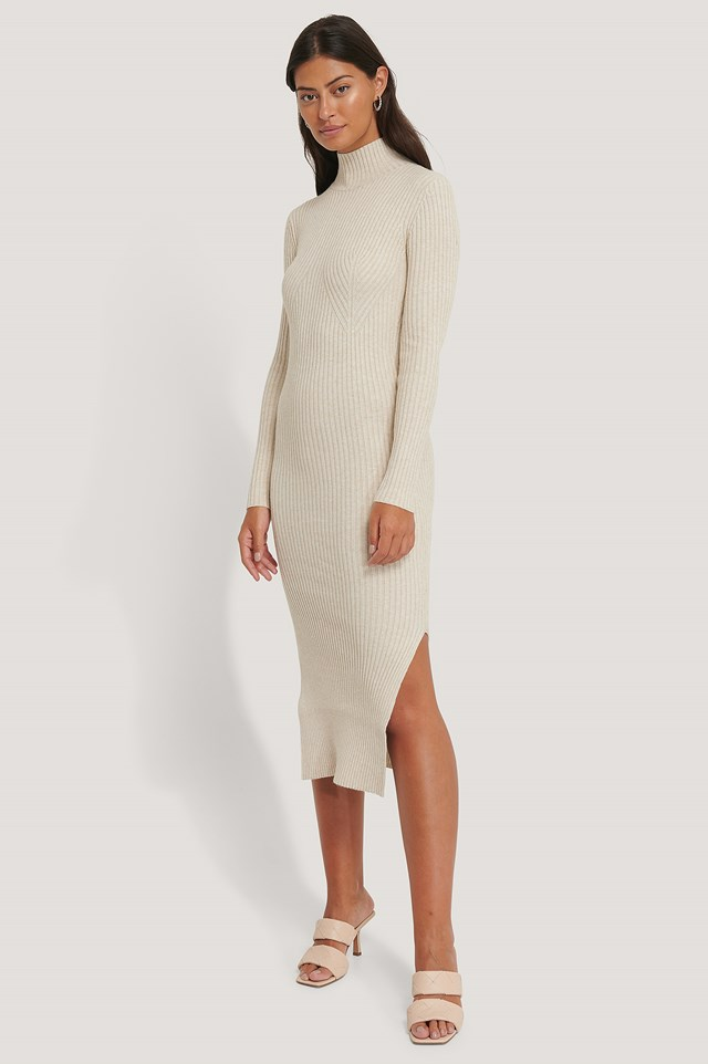 Side Slit Knitted Dress Light Beige