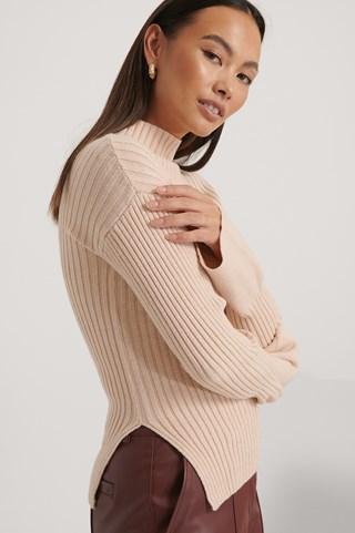 Light Beige Side Slit Ribbed Knitted Sweater