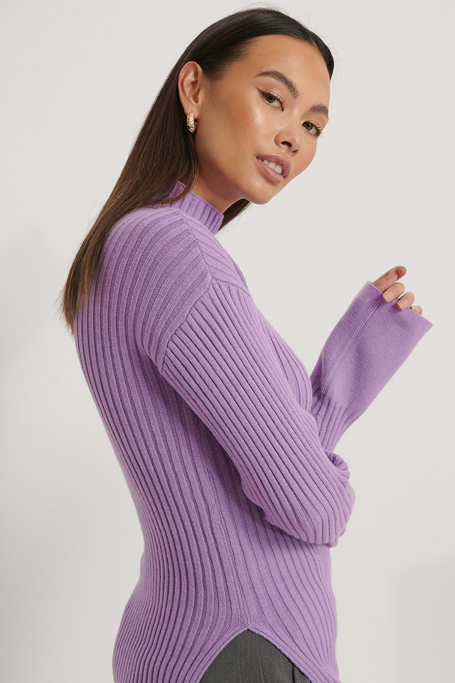 Side Slit Ribbed Knitted Sweater Lilac