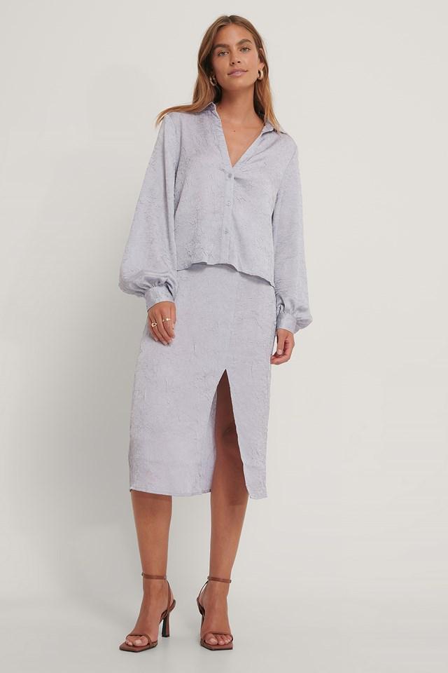 Side Slit Structured Skirt Lilac