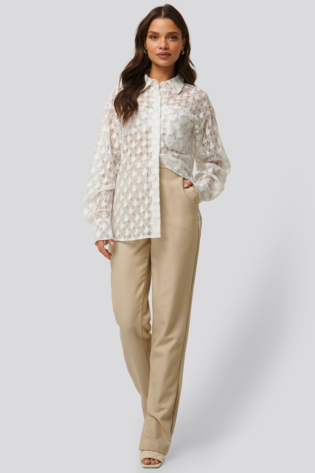 Side Slit Suit Pants Beige