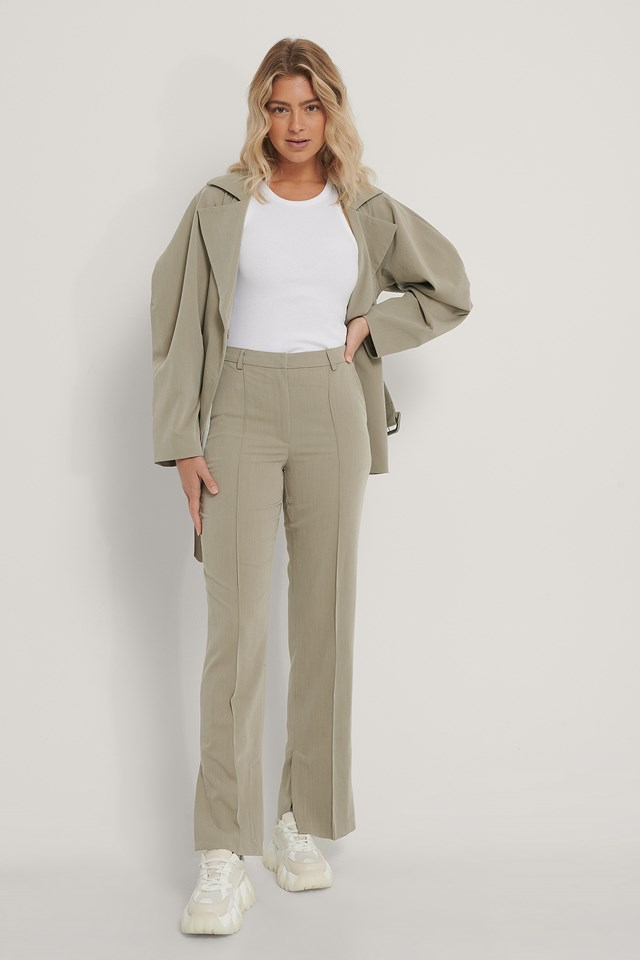 Side Slit Tailored Pants Dusty Light Green
