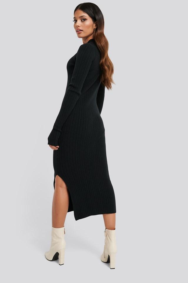 Side Split Ribbed Knit Dress Black