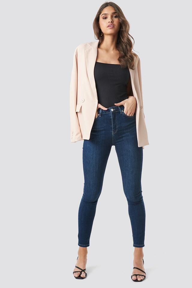 Skinny High Waist Jeans Dark Blue