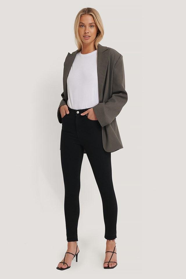 Skinny High Waist Open Hem Jeans NA-KD