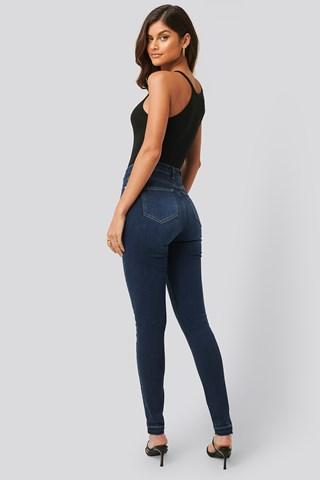 Dark Blue Skinny High Waist Open Hem Jeans Tall