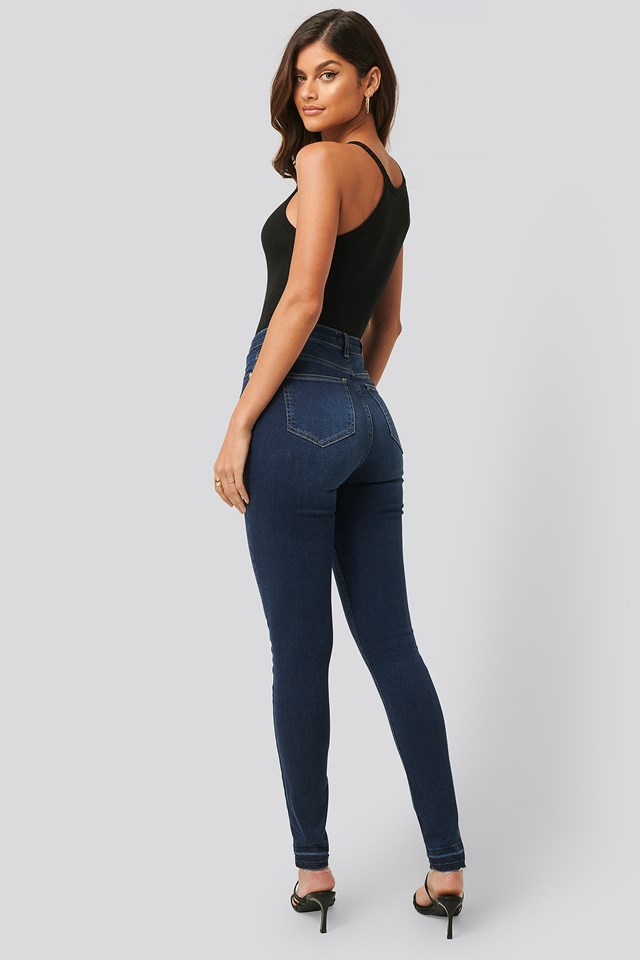 Skinny High Waist Open Hem Jeans Tall Dark Blue