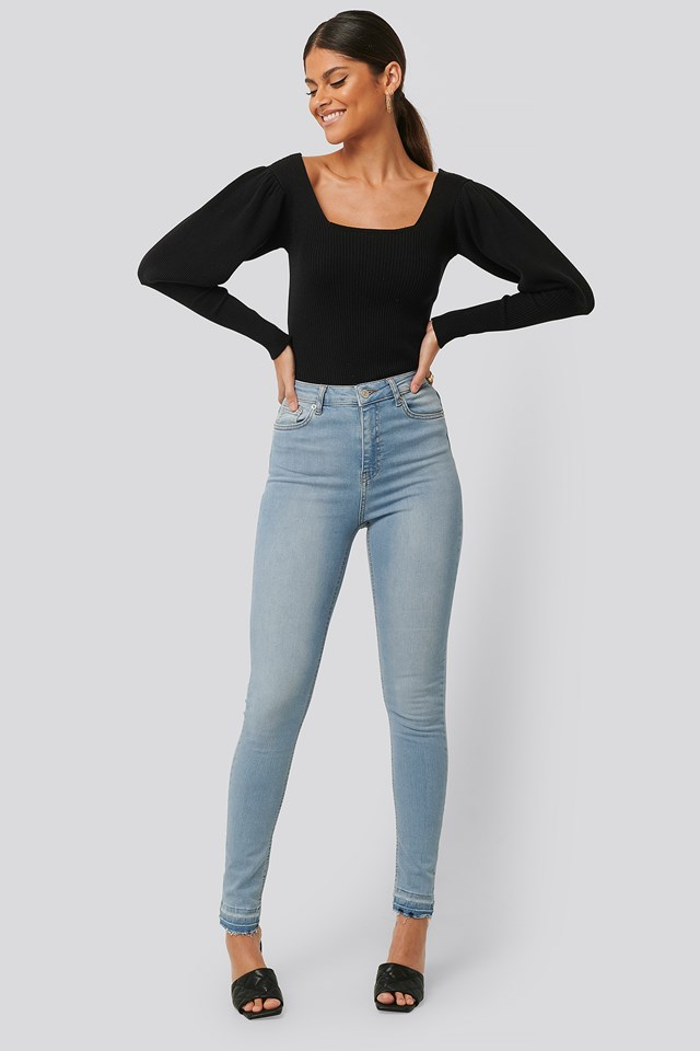 Skinny High Waist Open Hem Jeans Tall Light Blue