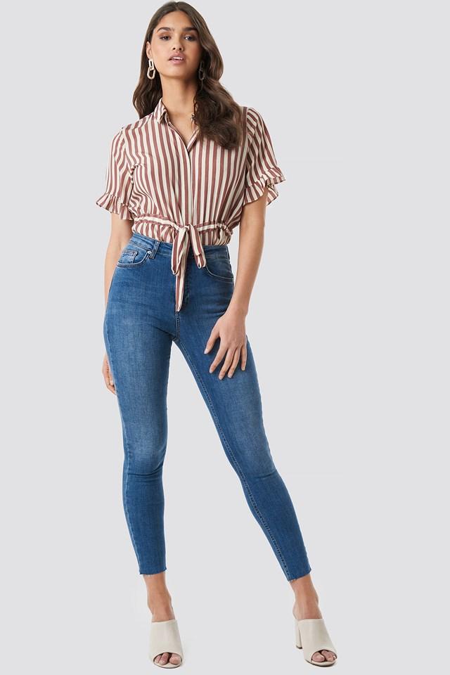 Skinny High Waist Raw Hem Jeans NA-KD