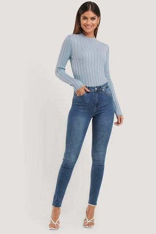 Mid Blue Skinny High Waist Raw Hem Jeans Tall