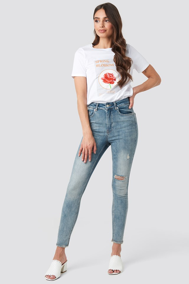 Skinny High Waist Worn Look Jeans Washed Blue