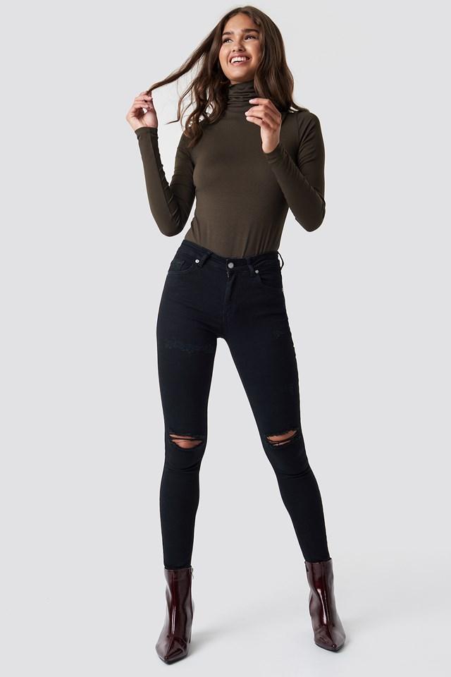 Skinny Mid Waist Destroyed Jeans NA-KD