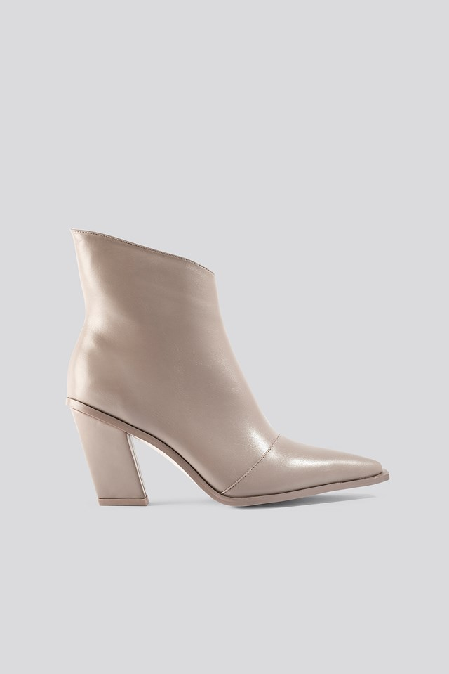 Slanted Heel Toe Detail Boots Taupe