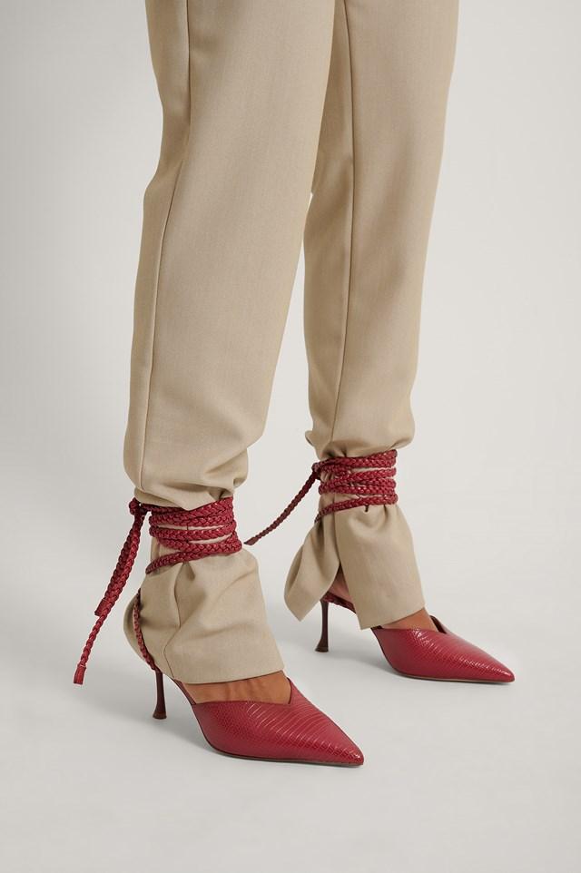 Slanted Stiletto Lace Up Pumps Juicy Rasberry