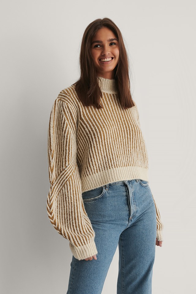 Sleeve Detail Striped Knitted Sweater Beige/White